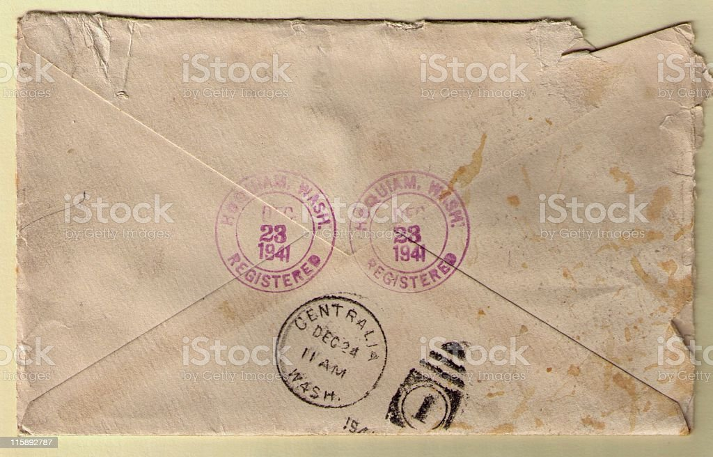 Aged Envelope with 1941 Postmarks royalty-free stock photo