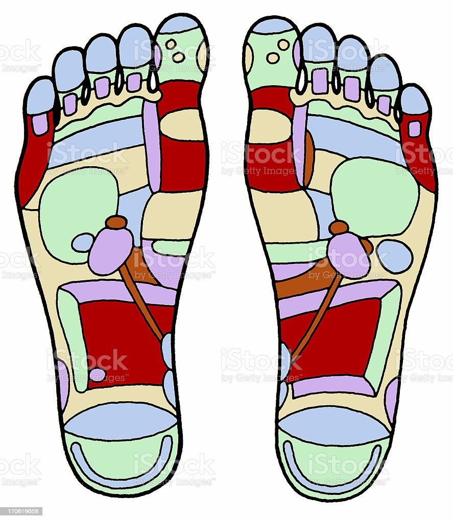 Aged Foot Massage Diagram royalty-free stock photo