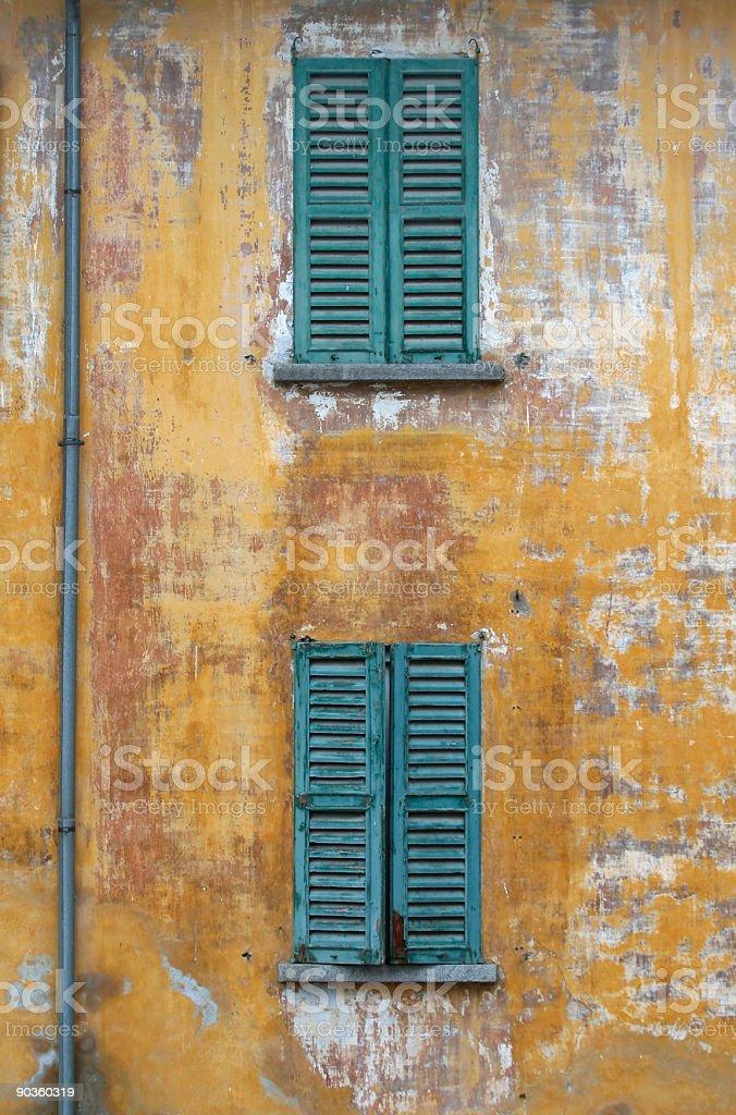Aged Green  Windows royalty-free stock photo