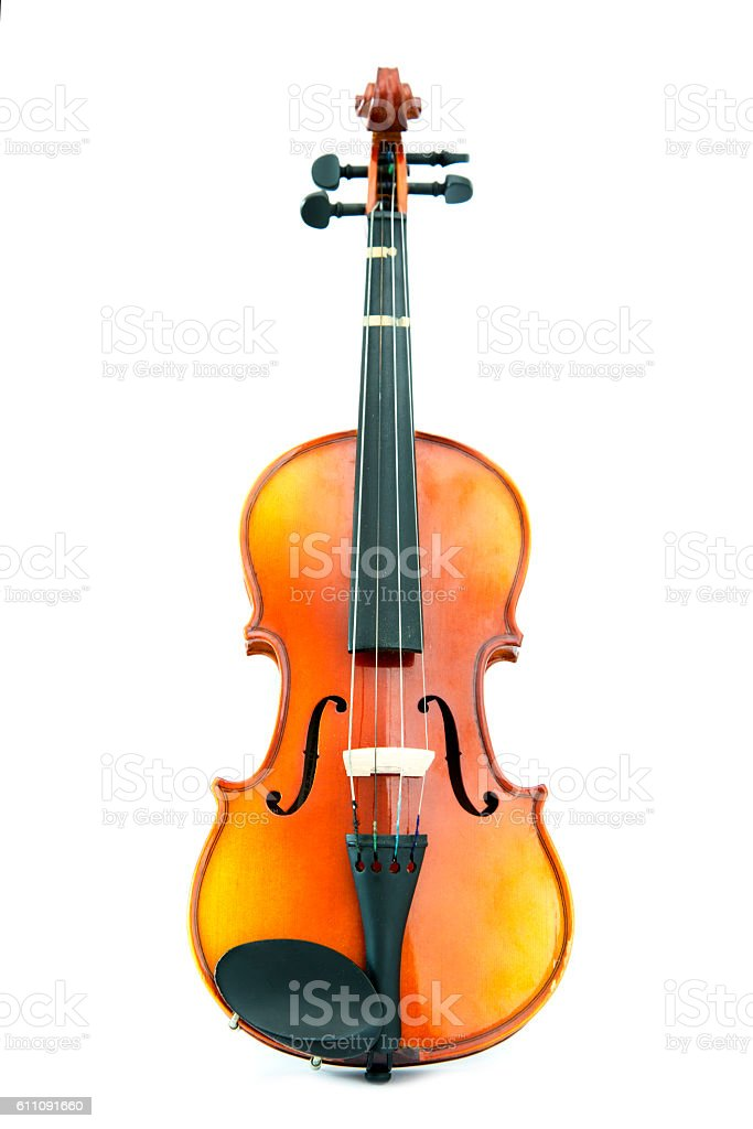 aged handmade violin on white background stock photo