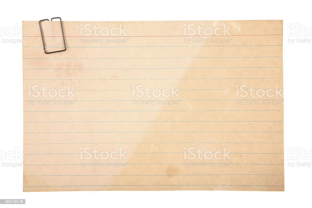 Aged Index Card stock photo