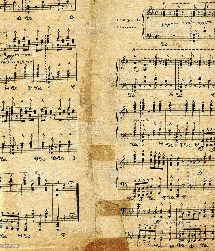 Aged Italian Sheet Music stock photo