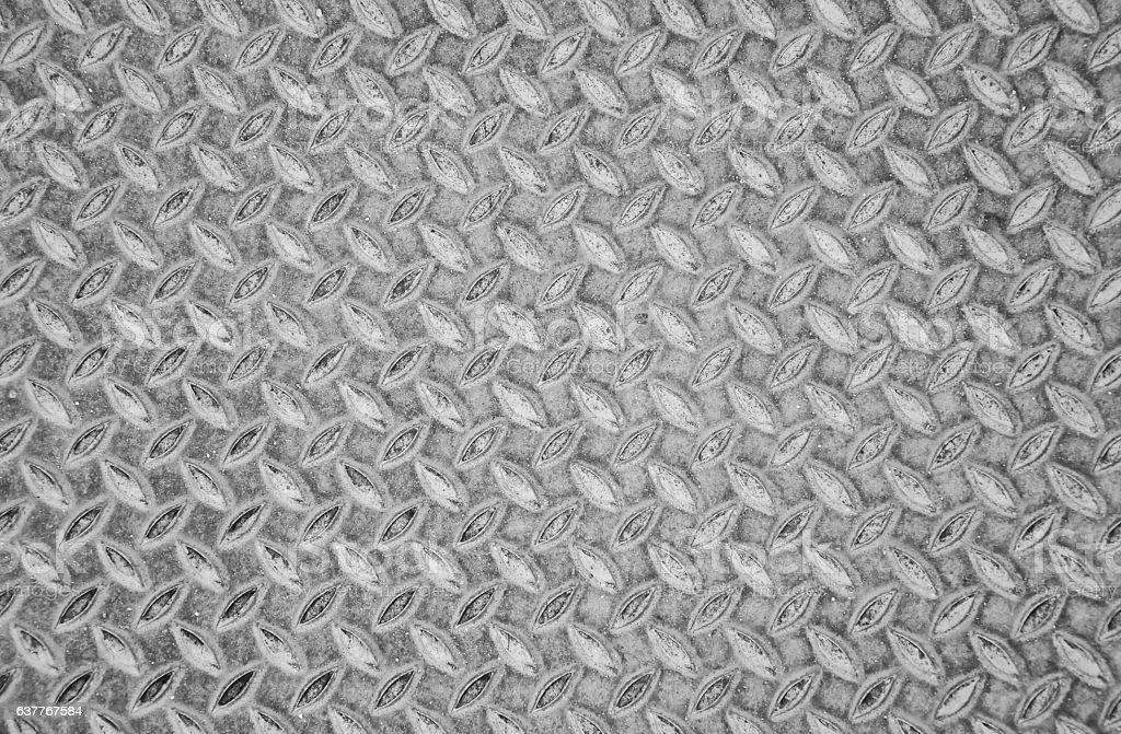 Aged metal seamless steel diamond plate texture pattern background stock photo
