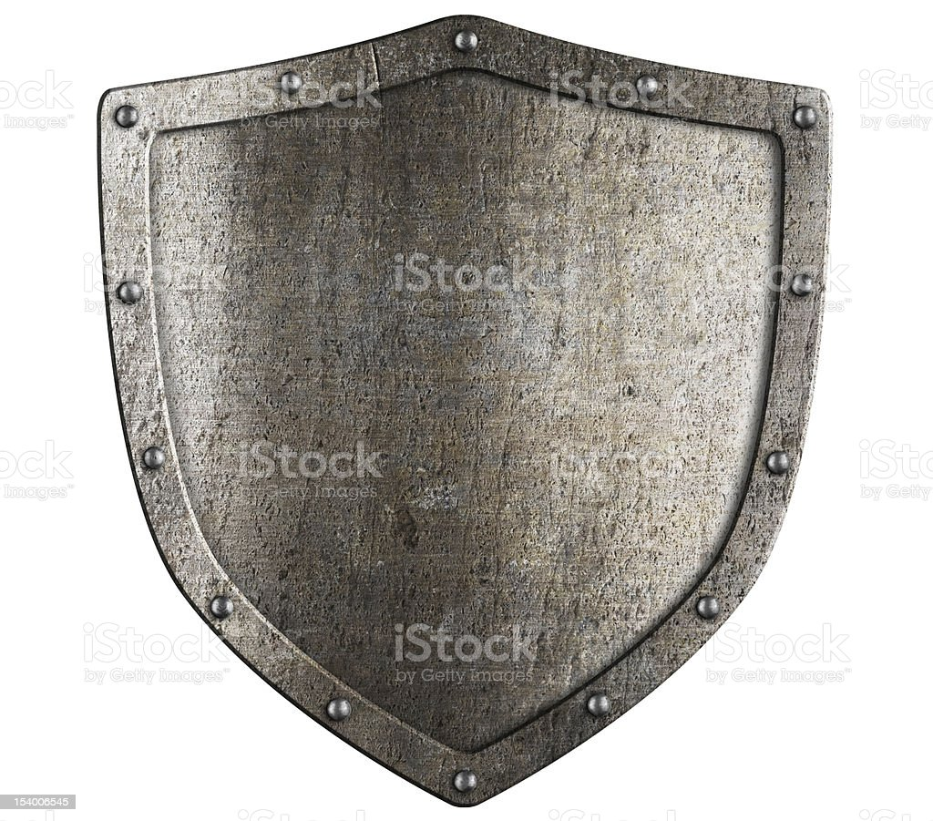 aged metal shield isolated on white stock photo