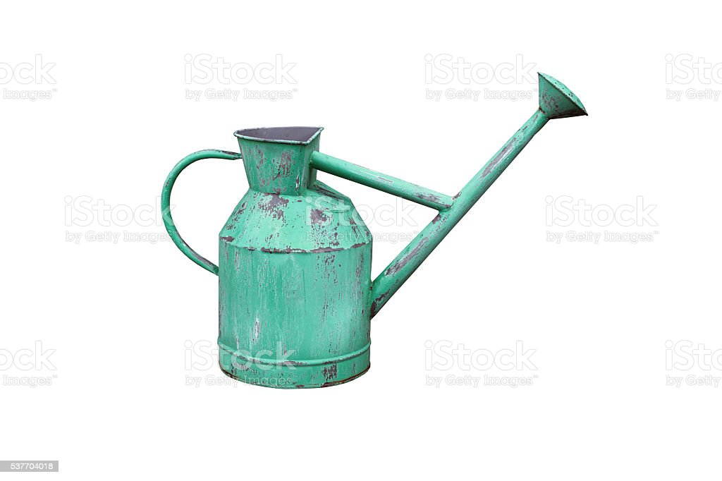 Aged metallic watering can isolated on white background stock photo