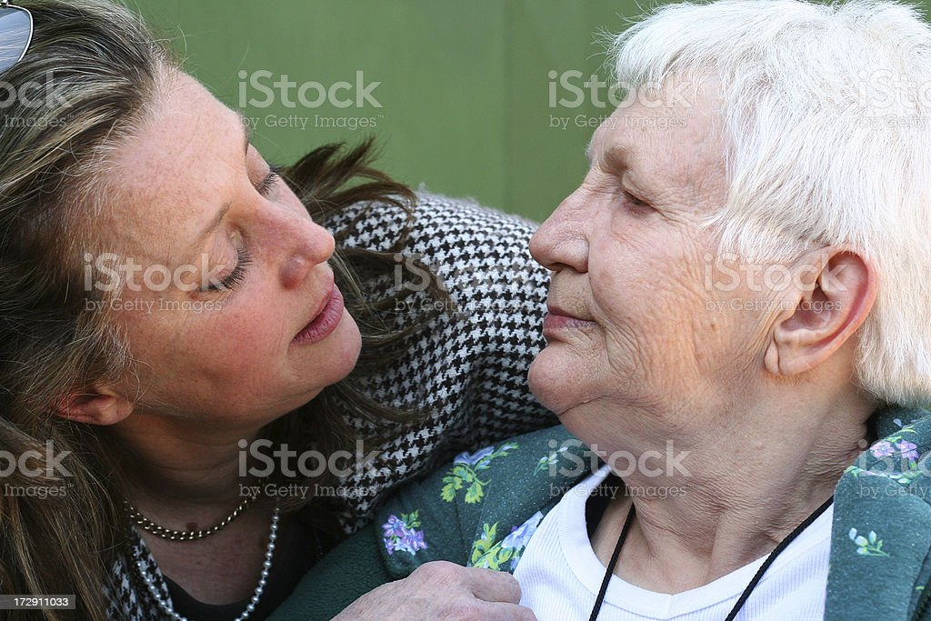 Aged mother and mature daughter royalty-free stock photo