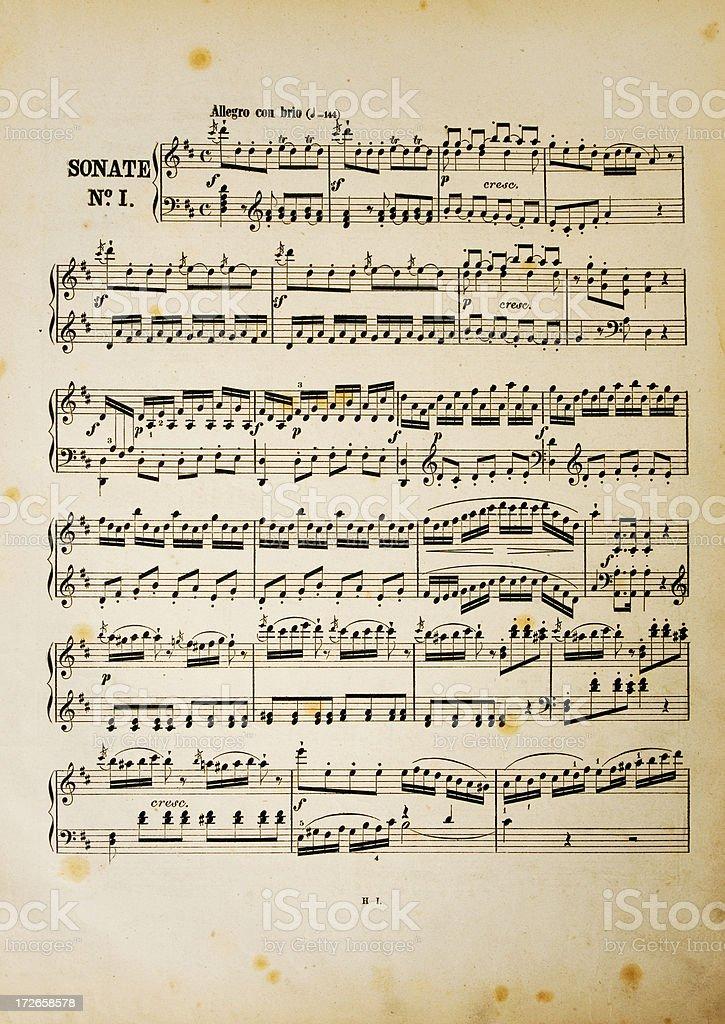 Aged music sheet stock photo