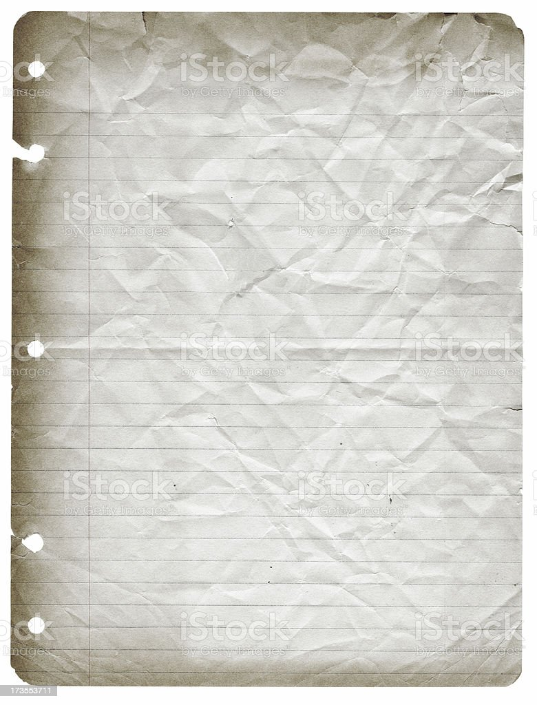 Aged Notebook Paper stock photo