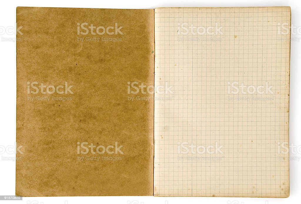 Aged Notebook with Lined Papper royalty-free stock photo