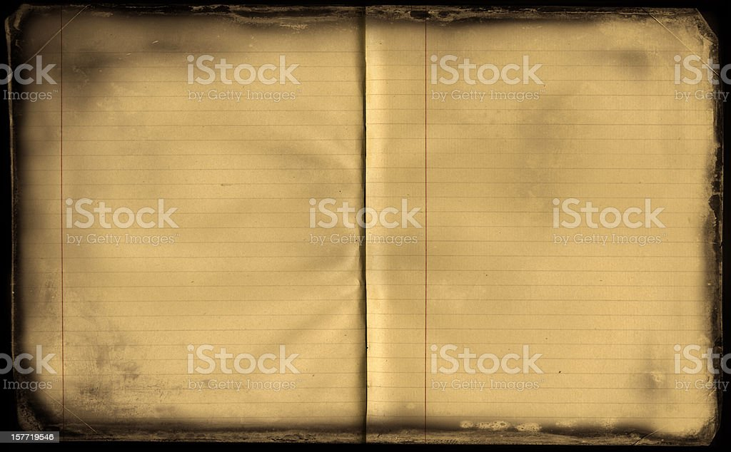 Aged open exercise book royalty-free stock photo