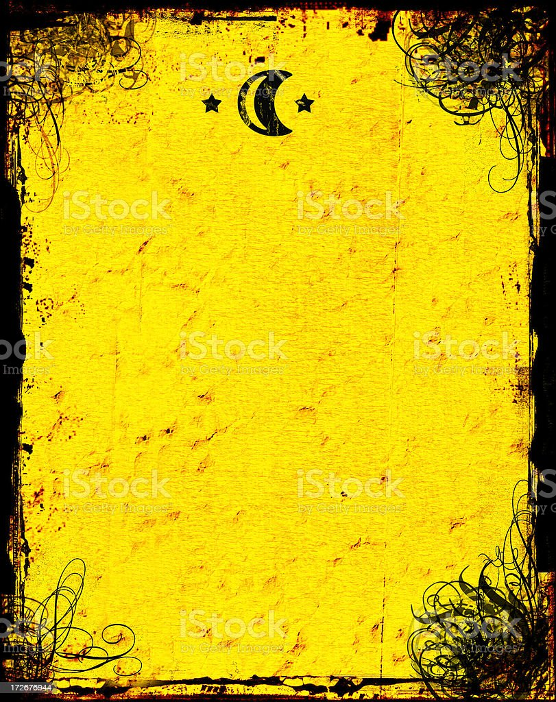 Aged paper background with moon, stars, and swirly grunge royalty-free stock photo