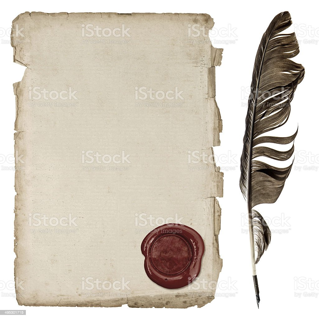 aged paper sheet with wax seal and ink feather pen stock photo