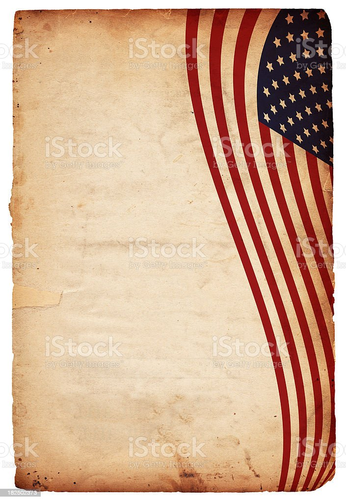 Aged paper with Stars and Stripes flag border stock photo