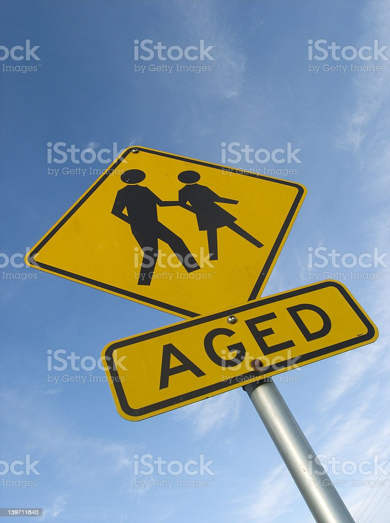 Aged persons warning sign royalty-free stock photo