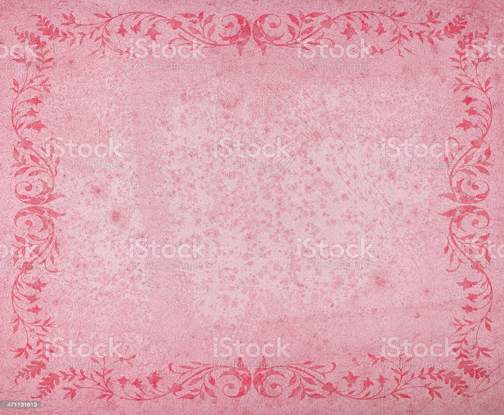 aged pink paper with floral border royalty-free stock photo