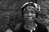Aged Togolese woman with headscarf