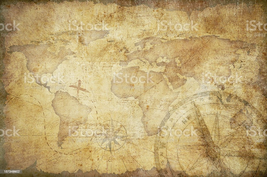 aged treasure map with compass background stock photo