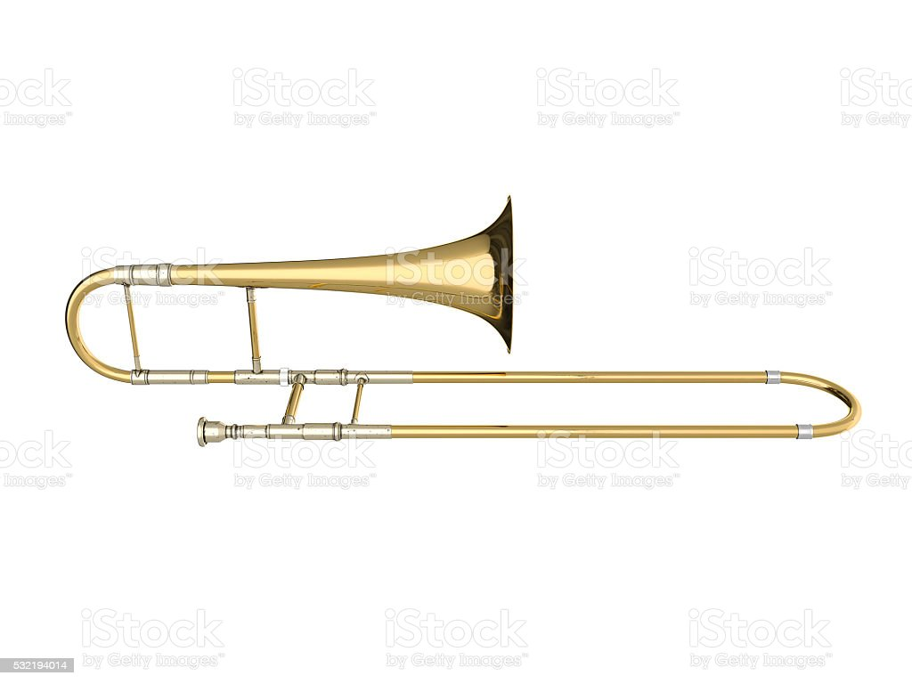 Aged trombone isolated on white background 3D rendering stock photo