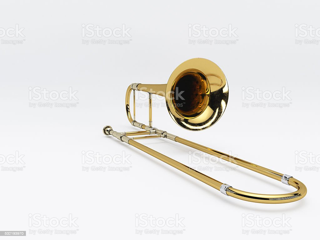Aged trombone on white background 3D rendering stock photo