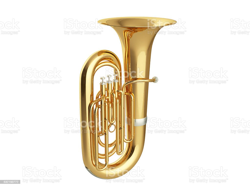 Aged tuba isolated on white background 3D rendering stock photo
