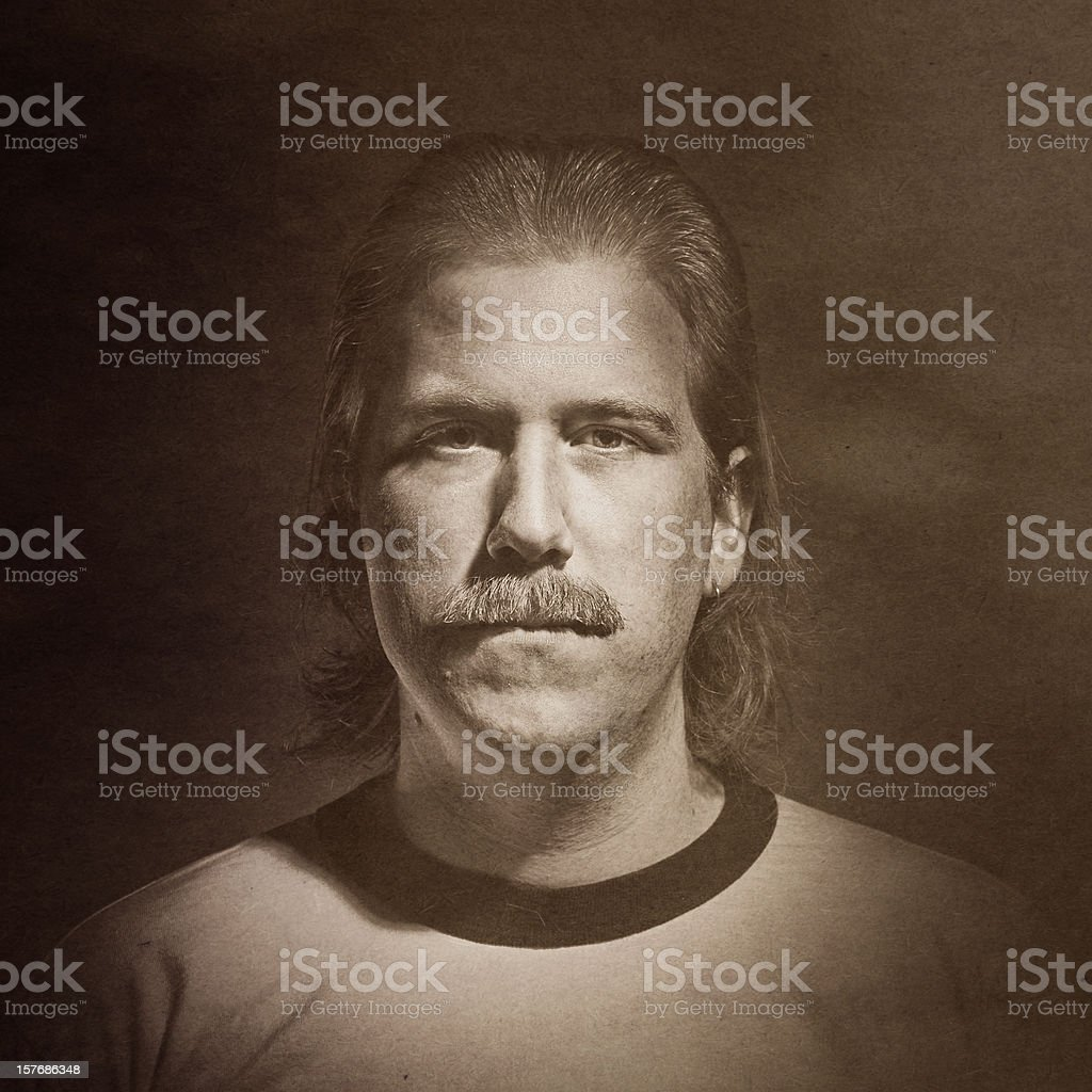 Aged Vintage Mustache Portrait stock photo