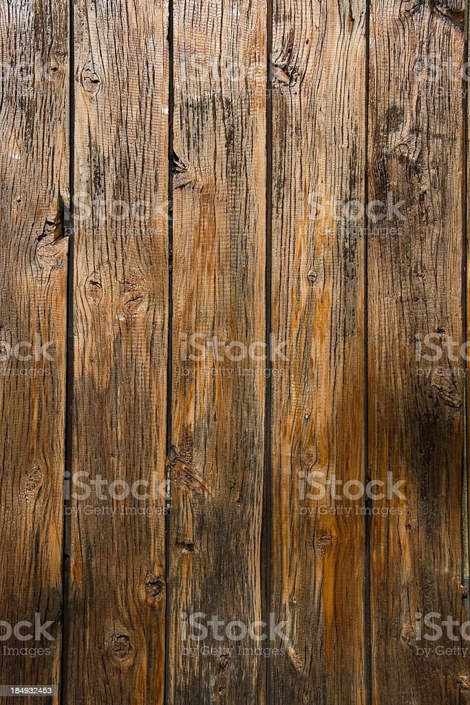 Aged wooden background with vertical planks stock photo