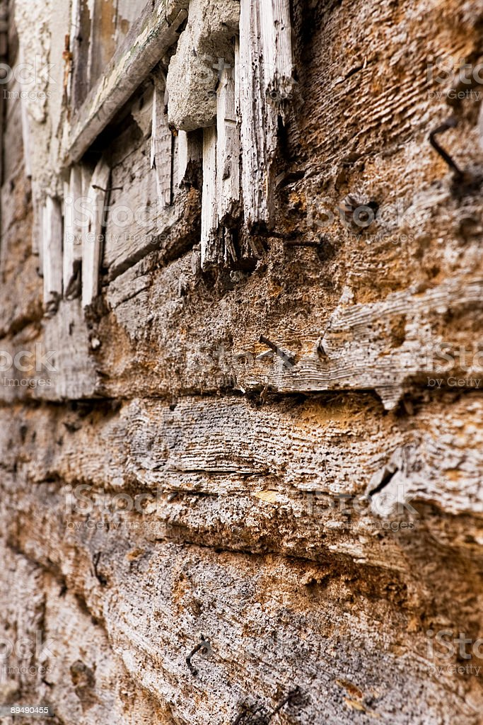 Aged wooden building exterior stock photo