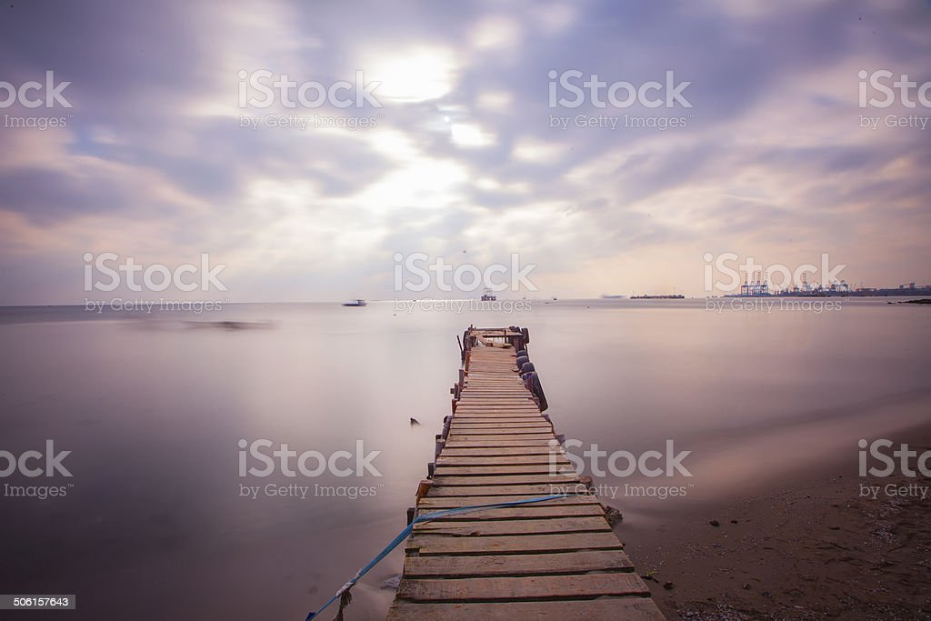 Aged wooden pier royalty-free stock photo