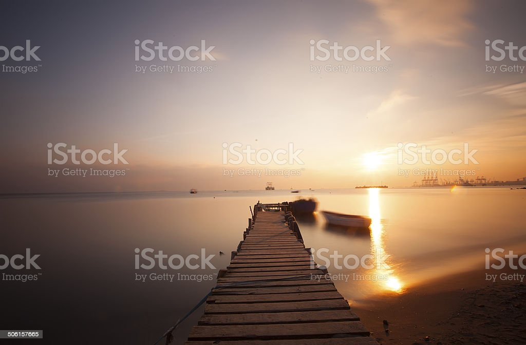 Aged wooden pier. royalty-free stock photo