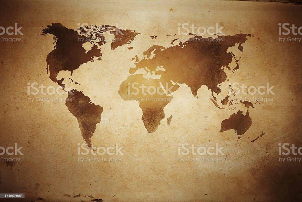 Aged world map royalty-free stock photo