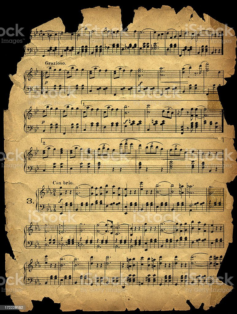 aged worn music sheet royalty-free stock photo