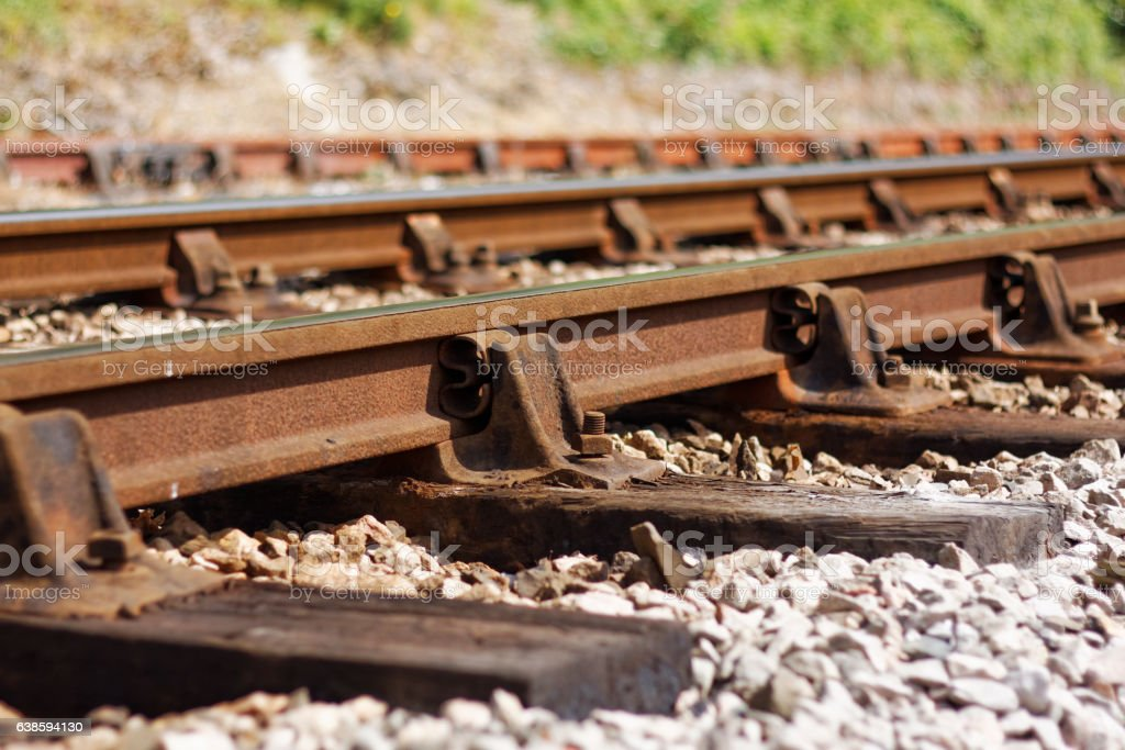 Ageing Railway Line Showing Signs of Disrepair stock photo