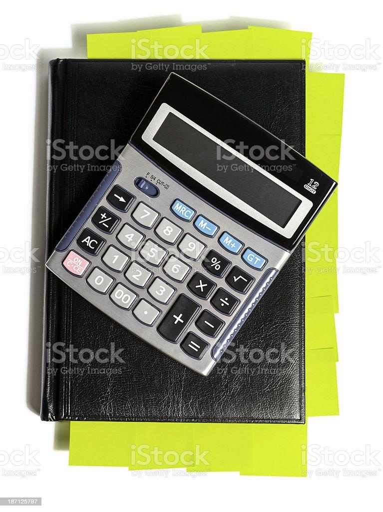 agenda and calculator stock photo