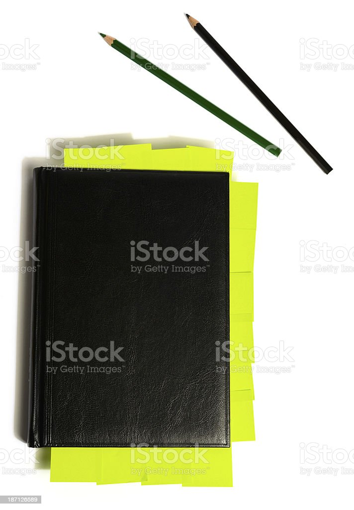agenda and post its stock photo