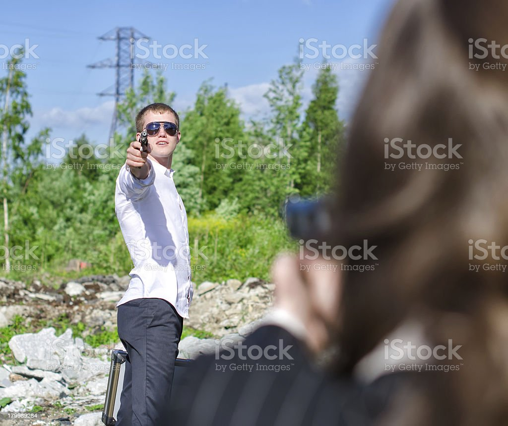 FBI agent conduct arrest of an offender with the gun royalty-free stock photo