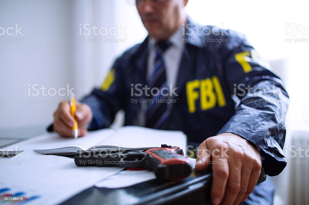FBI agent in office stock photo