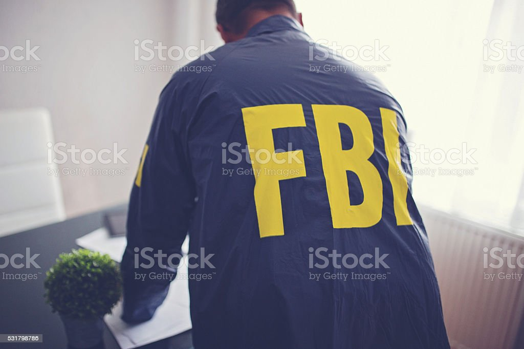 FBI agent looking through some papers stock photo