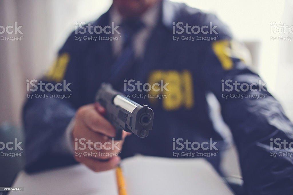 FBI Agent with a gun stock photo
