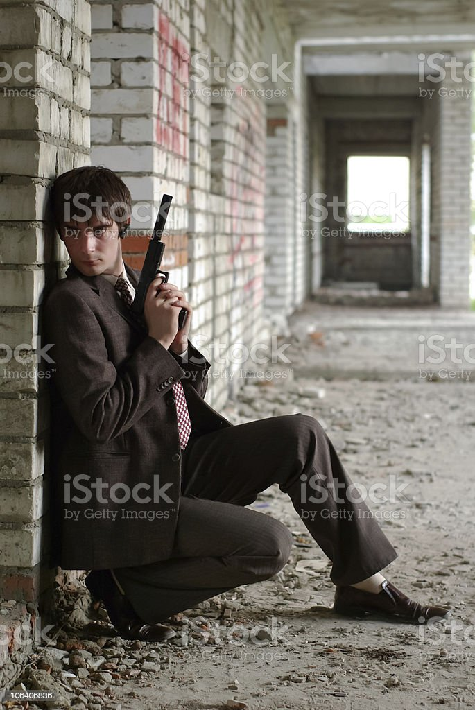 Agent with gun stock photo
