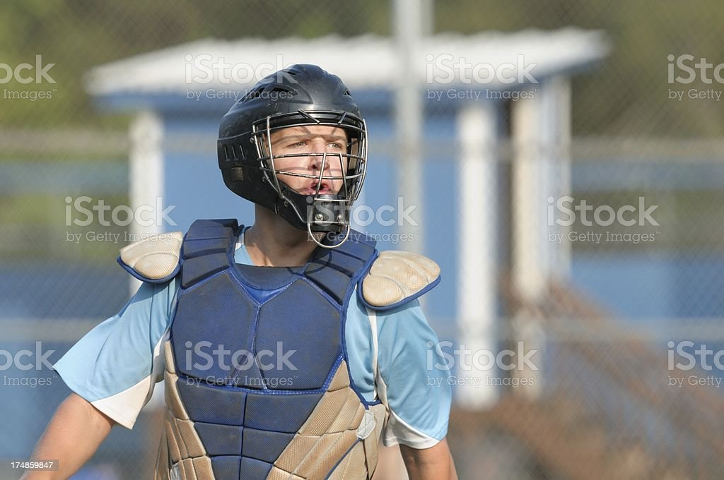 Aggravated baseball catcher royalty-free stock photo