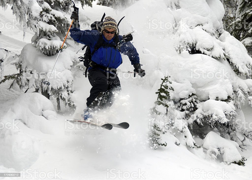 Aggressive Skiing in Canadian Wilderness stock photo
