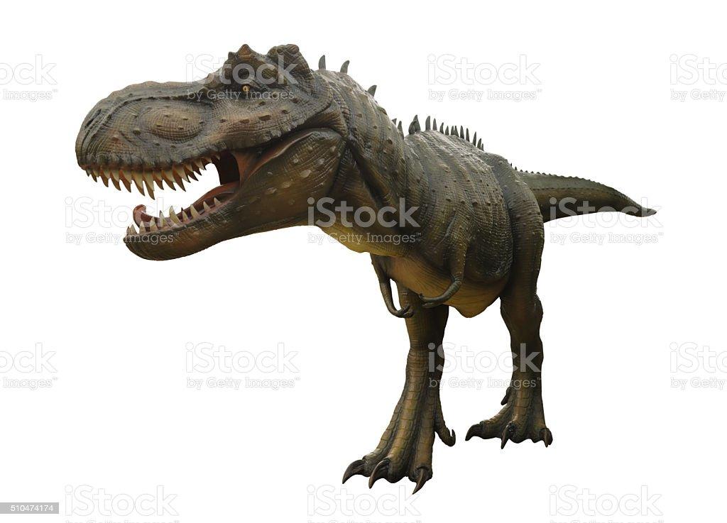 Aggressive T Rex on white background. stock photo