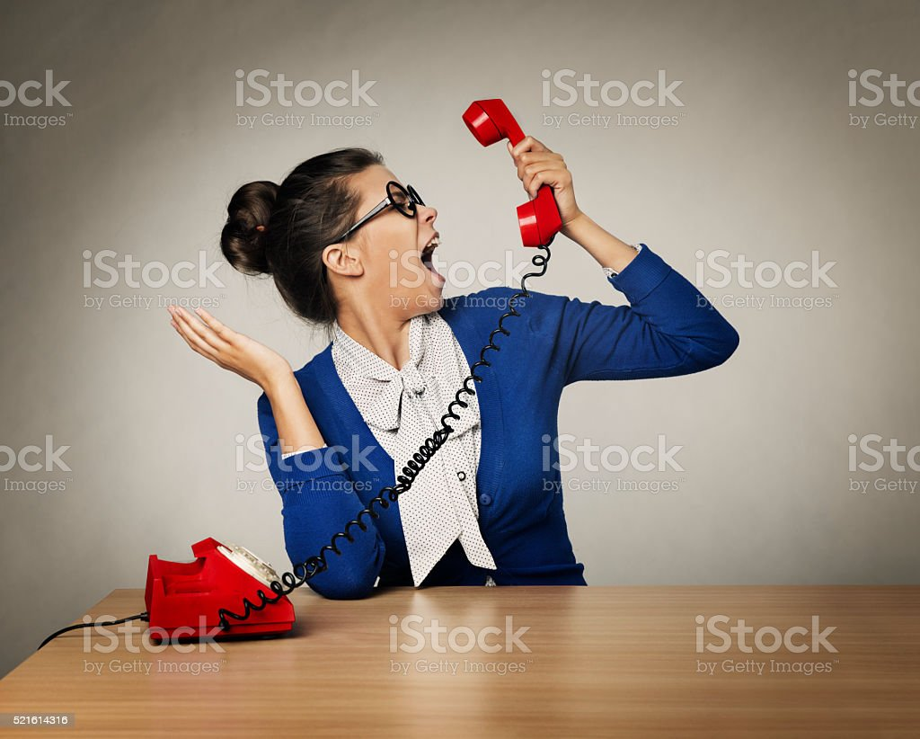 Aggressive Woman Phone Call Cry, Stressed Angry Scream, Gray stock photo