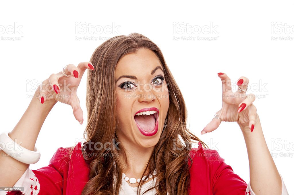 Aggressive young woman stock photo