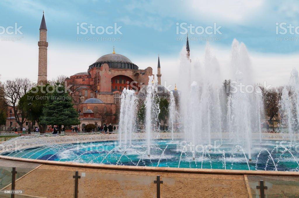 Aghia Sophia in Istanbul, Sultanahmet Square stock photo