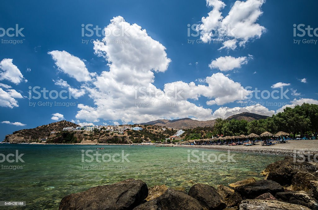 Agia Galini Beach in Crete island, Greece. stock photo