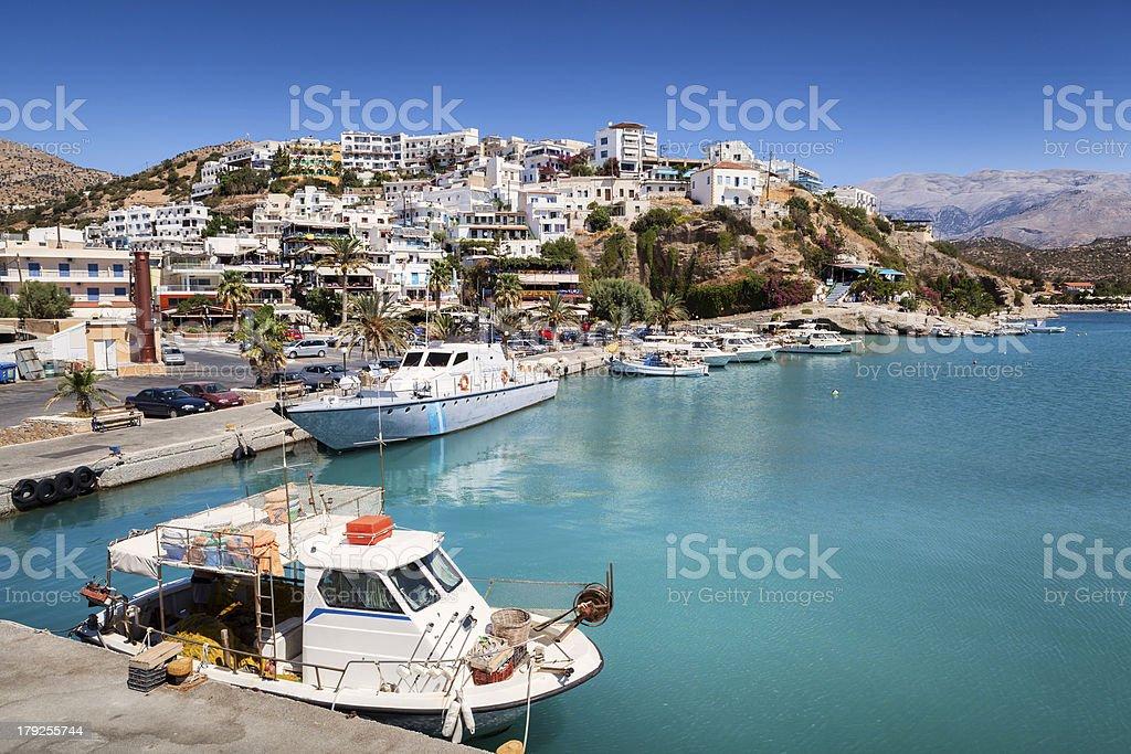 Agia Galini harbour in Crete, Greece stock photo