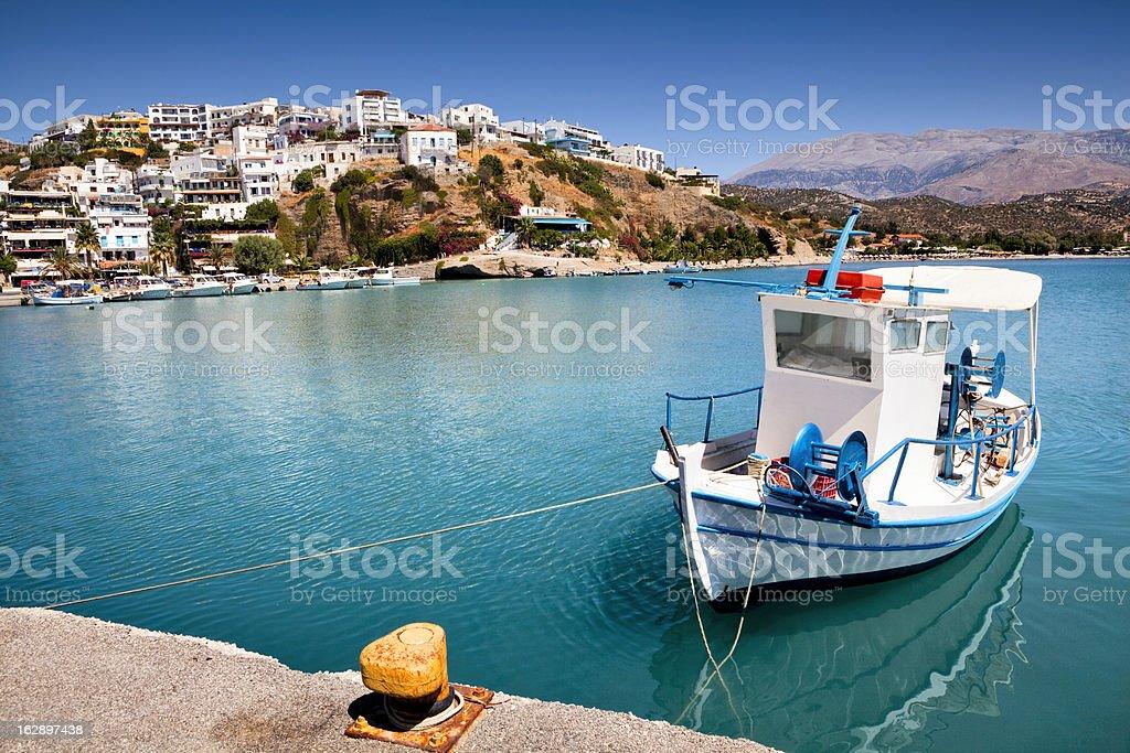 Agia Galini harbour in Crete stock photo