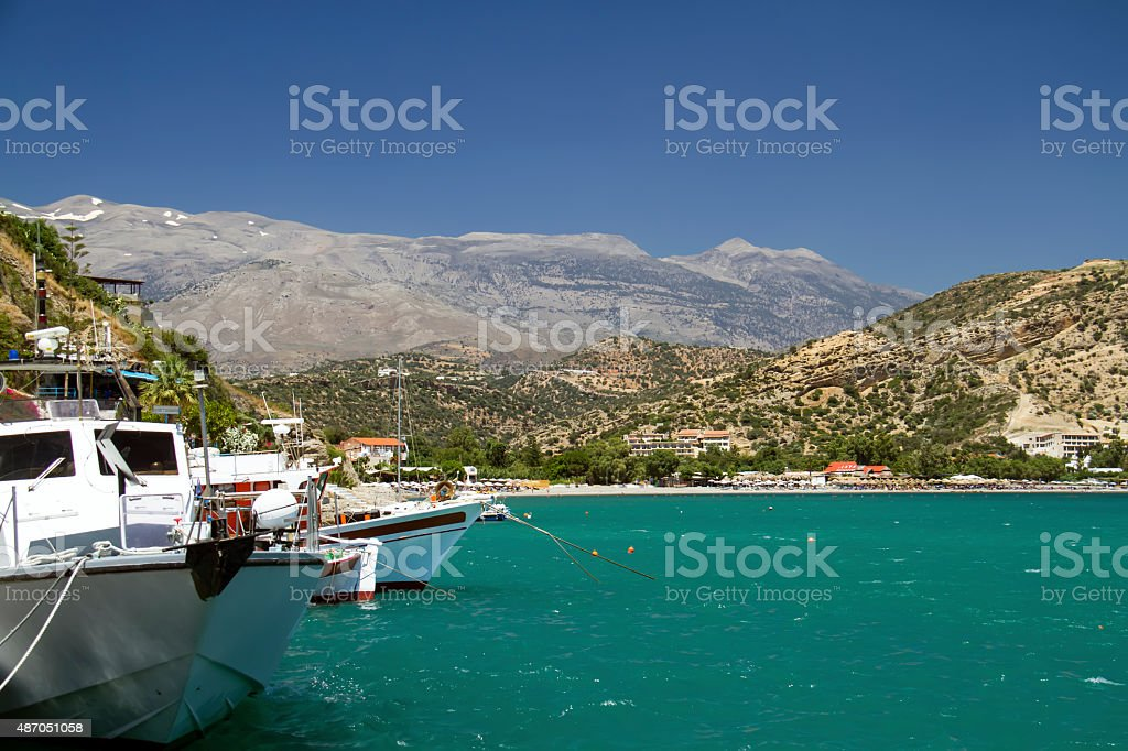 Agia Galini harbour stock photo