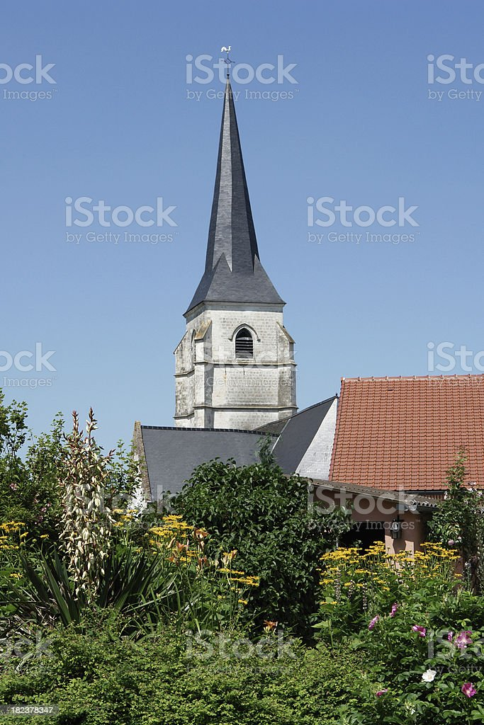 Agincourt in France, image of the town church steeple stock photo